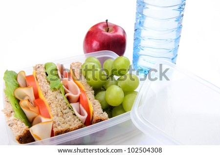Lunchbox with turkey, ham sandwich, apple, grape and water - stock photo
