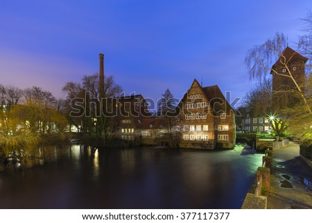 Luneburg, Germany - February 10, 2016: Historic old hanseatic city of Luneburg at winter evening