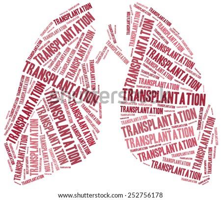 Lung transplantation. Word cloud illustration. - stock photo