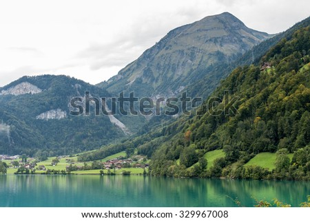 LUNGERN, SWITZERLAND/ EUROPE - SEPTEMBER 22:  View of Lungerersee near Lungern Obwalden in Switzerland on September 22, 2015