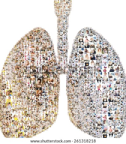 lungs icon. formed of photos. collage - stock photo