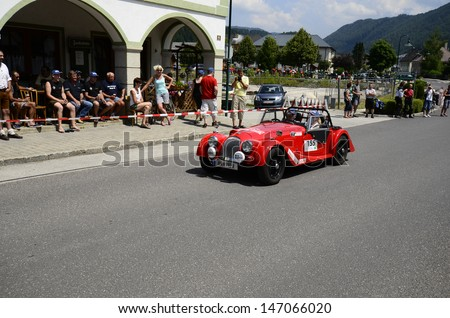 LUNZ, AUSTRIA - JULY 19: Morgan 4/4 on special stage by International Ennstal Classic 2013, a yearly tournament through Austria for vintage cars on July 19, 2013, in Lunz am See, Austria