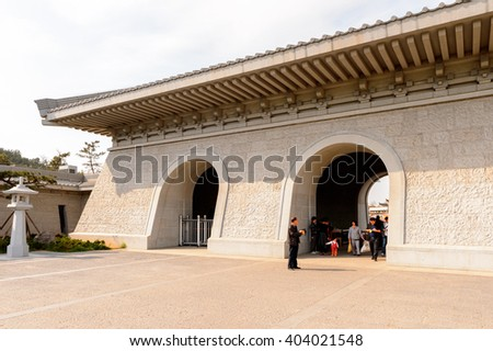LUOYANG, CHINA - MAR 28, 2016: Visitor center of the Longmen Grottos, UNESCO World Heritage site