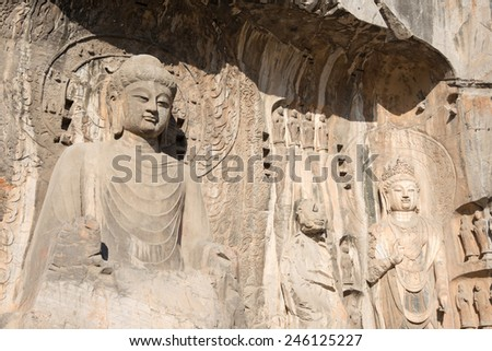 LUOYANG, CHINA - NOV 13 2014: Longmen Grottoes. UNESCO World heritage site in Luoyang, Henan, China.