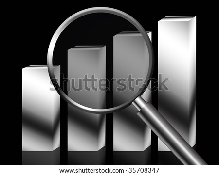 Lupe business chart over black background. Conceptual Illustration - stock photo