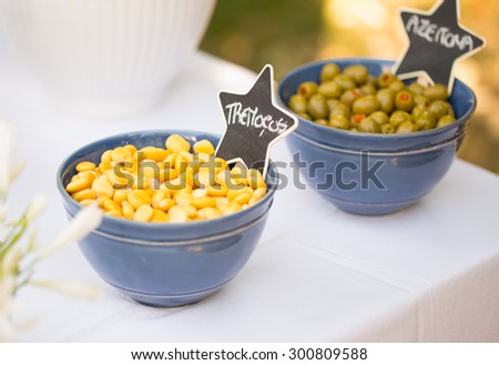 Lupins & Olives, Outdoor Buffet - stock photo