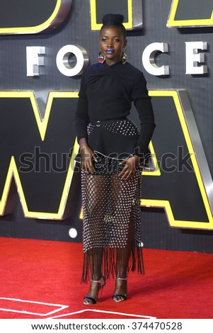 """Lupita Nyong'o at the European premiere of """"Star Wars: The Force Awakens"""" in Leicester Square, London.  December 16, 2015  London, UK Picture: James Smith / Featureflash - stock photo"""