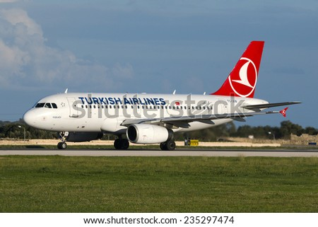 Luqa, Malta December 4, 2014: Turkish Airlines Airbus A319-132 ready for take off runway 31. - stock photo