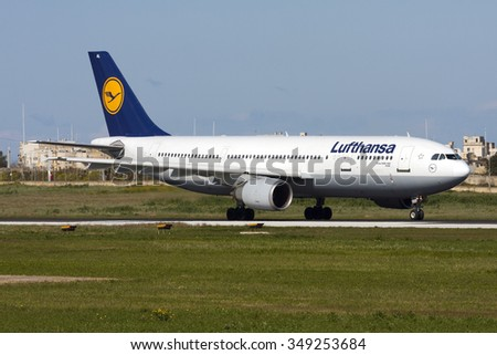 Luqa, Malta February 15, 2009: Lufthansa Airbus A300B4-603 [D-AIAL] preparing for a take off from runway 31. These aircraft (A300's) have now been withdrawn from Lufthansa passenger service. - stock photo