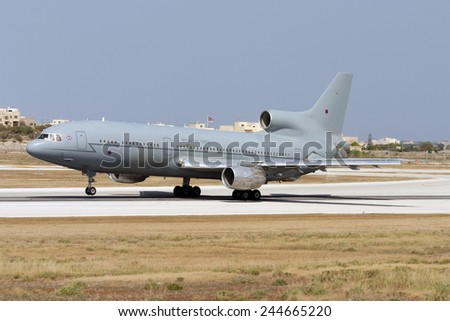 Luqa, Malta July 22, 2007: Royal Air Force Lockheed L-1011-385-3 TriStar K1 (500) takes off from runway 31. - stock photo