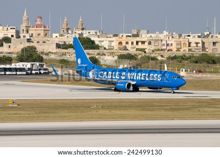 Luqa, Malta July 17, 2007: Ryanair Boeing 737-8AS taxis out of apron 9 for departure. - stock photo