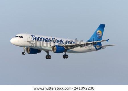 Luqa, Malta July 3, 2007: Thomas Cook Airlines Airbus A320-214 landing runway 32.