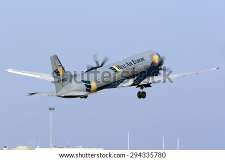 Luqa, Malta July 7, 2015: West Air Europe Cargo British Aerospace ATP on a very short take off rom runway 13. - stock photo