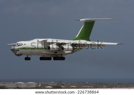 Luqa, Malta June 23, 2009: Libya - Air Force Ilyushin Il-76TD landing runway 31. This aircraft is probably now written off. - stock photo