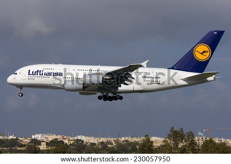 Luqa, Malta March 19, 2011: Lufthansa Airbus A380-841 the first and only A380 to land in Malta till now (2014). - stock photo