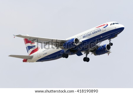 Luqa, Malta May 10, 2016: British Airways Airbus A320-232 [G-MIDS] on departure runway 13, back to London Gatwick airport. - stock photo