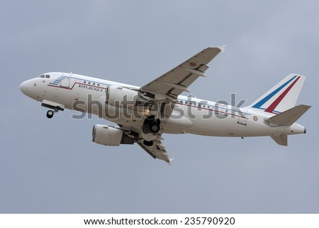 Luqa, Malta May 9, 2008: French Air Force Airbus ACJ319 (A319-115/CJ) taking off runway 13. - stock photo