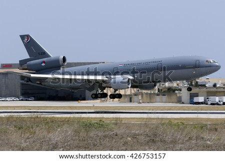 Luqa, Malta May 26, 2016: Royal Dutch Air Force McDonnell Douglas KDC-10-30CF [T-235] coming in to land on runway 13.