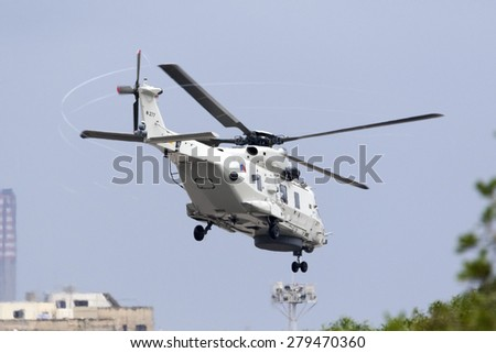 Luqa, Malta May 18, 2015: Royal Netherlands Navy NH-90 NFH taking off from runway 13.