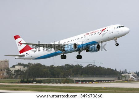 Luqa, Malta October 4, 2009: Austrian Airlines (Tyrolean Airways) Airbus A321-111 [OE-LBB] take off runway 31. - stock photo