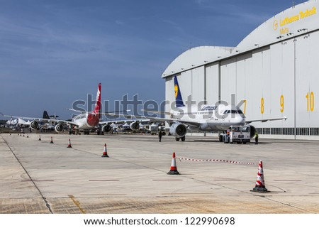 LUQA, MALTA - SEP 29 - Lufthansa Technik premises during the 20th edition of the Malta International Airshow on 29 September 2012