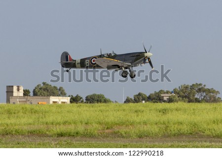 LUQA, MALTA - SEP 29 - Supermarine Spitfire flies by during the 20th edition of the Malta International Airshow on 29 September 2012