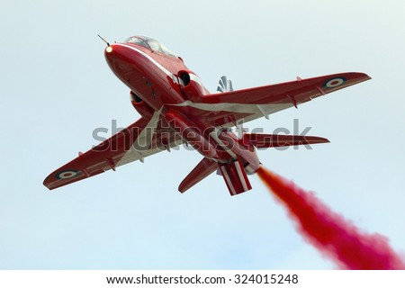 Luqa, Malta September 27, 2014: RAF Red Arrows Display Team Bae Hawk T.2 over Luqa airfield.