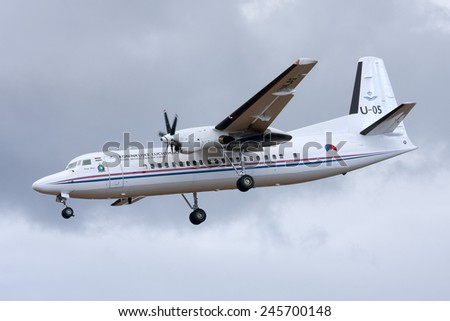 Luqa, Malta September 25, 2009: Royal Dutch Air Force Fokker 50 on finals for runway 32. - stock photo