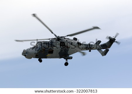 Luqa, Malta September 25, 2015: Royal Navy (Black Cats Display Team) Agusta Westland AW-159 Wildcat HMA2 on a rehearsal session for the upcoming Airshow the next 2 days.