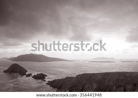 Lure and Blasket Islands, Dingle Peninsula, Ireland in Black and White Sepia Tone