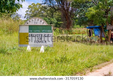 Lusaka, Zambia - April 3, 2015: Welcome sign to capital city of Zambia, Lusaka. - stock photo