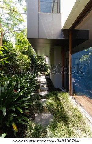 Lush garden planting landscape design in contemporary home courtyard outlook
