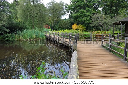 Lush Garden with Pond and wooden footbridge in early Autumn