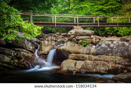 Lush green and small water fall with bridge in the background in the smokey mountains national park - stock photo