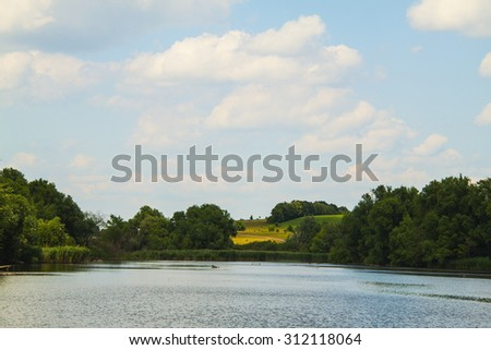 Lush Green Woodland Park Reflecting in Tranquil Pond - stock photo