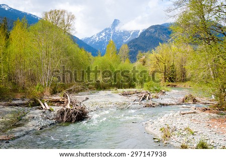 Lush River and Mountain Range at North Cascades National Park - stock photo