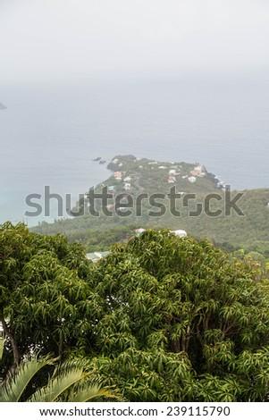 Lush Tropical foliage overlooking foggy bay on St Thomas - stock photo