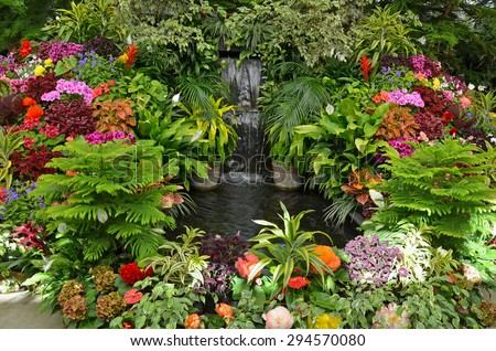 Lush tropical garden with assorted colorful flowers and plants - stock photo
