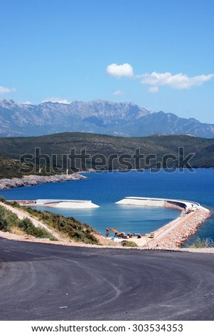 Lustica, Montenegro  July 29, 2015: The development of the Lustica Bay town and its community.