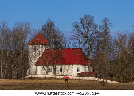 lutheranic church in latvia, at springtime