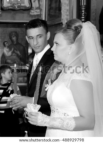 LUTSK, UKRAINE - NOVEMBER 03 - Wedding in Orthodox church in Lutsk on November 03, 2013.