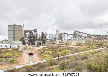 LUTZVILLE, SOUTH AFRICA - AUGUST 13, 2015: A mineral separation plant next to the road between Lutzville and Nuwerus