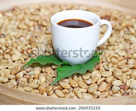 luwak  beans in a basket - stock photo
