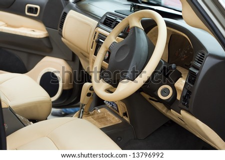 Luxe beige car passenger compartment
