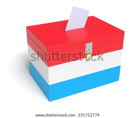 Luxembourg ballot box with Luxembourg Flag. Isolated on white background. - stock photo