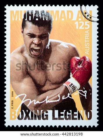 LUXEMBOURG - CIRCA 2015: A postage stamp printed in Vienna Austria showing Muhammad Ali, circa 2006 - stock photo
