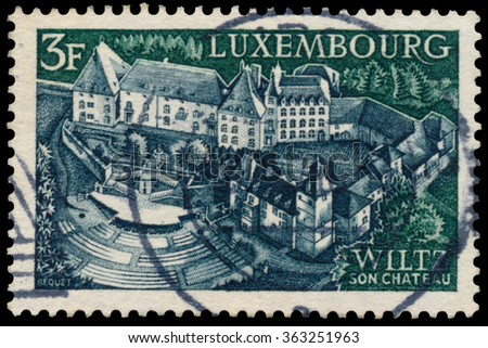 LUXEMBOURG - CIRCA 1969: a stamp printed in Luxembourg shows Castle and open-air theater, Wiltz