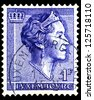 "LUXEMBOURG - CIRCA 1960: A stamp printed in Luxembourg shows portrait of Grand Duchess of Luxembourg Charlotte, without inscription, from the series ""Grand Duchess of Luxembourg Charlotte"", circa 1960 - stock photo"