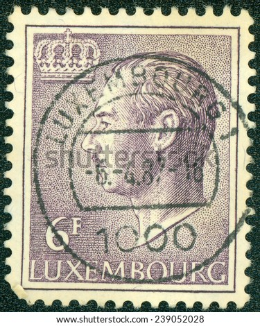 """LUXEMBOURG - CIRCA 1965: A stamp printed in Luxembourg, shows portrait of Grand Duke of Luxembourg Jean, without inscription, from the series """"Grand Duke Jean"""", circa 1965 - stock photo"""