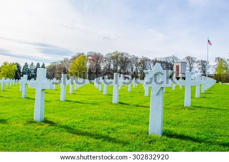 LUXEMBOURG CITY, LUXEMBOURG, APRIL 7, 2014: American military cemetery situated next to luxembourg city.